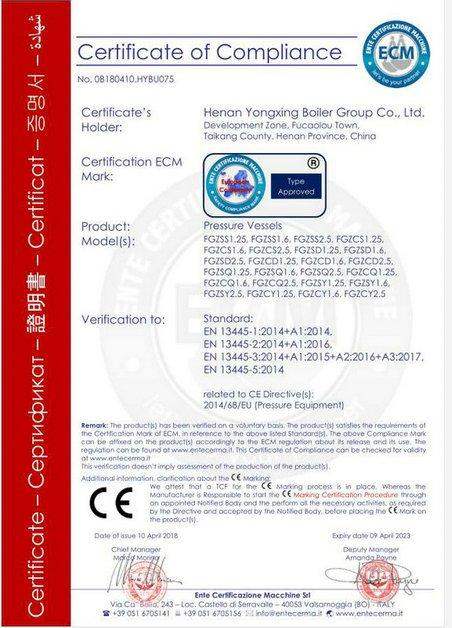CE for pressure vessel